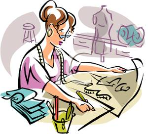 A_Colorful_Cartoon_Seamstress_Designing_a_New_Garment_on_Draft_Paper_Royalty_Free_Clipart_Picture_100615-005147-2080531