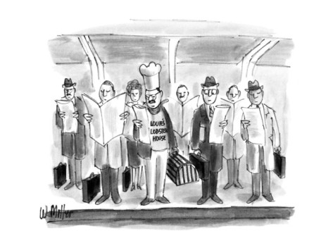 warren-miller-chef-with-hat-and-lobster-trap-on-subway-stop-with-businessmen-with-briefc-new-yorker-cartoon